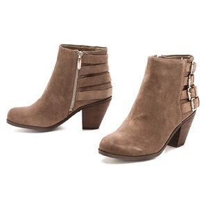 Sam Edelman Lucca 4 buckle booties suede taupe 10